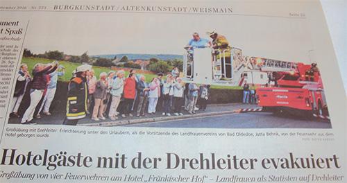 Zeitungsartikel zur Feuerwehrübung