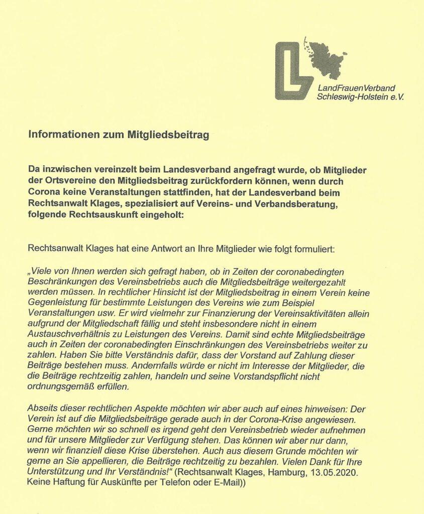 Information zu Mitgliedsbeitrag