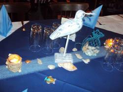 Tischschmuck beim Fischvortrag