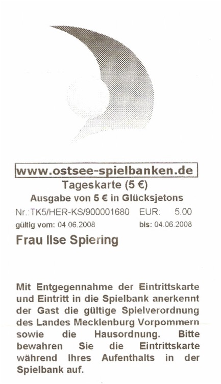 Ticket Ostsee-Spielbank